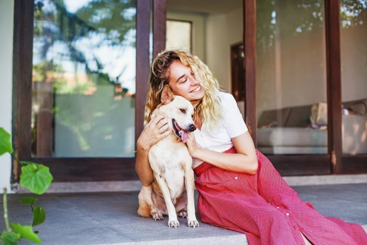 At home with a dog
